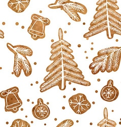 Christmas seamless gingerbread pattern vector image