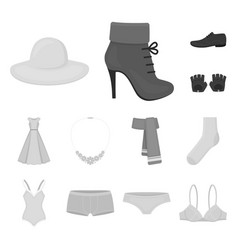 Clothes and accessories monochrome icons in set vector