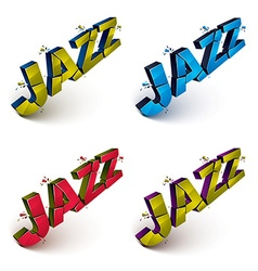 Collection of 3d shattered jazz word created with vector