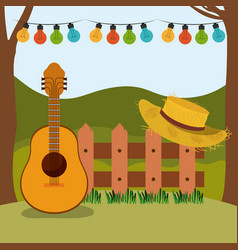 Colorful background of festa junina with rural vector