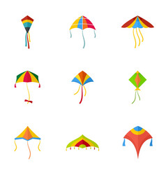 colorful kite icon set flat style vector image