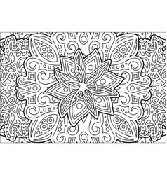 coloring book page with beautiful stylized flower vector image