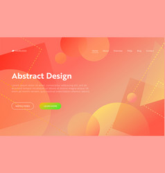 coral abstract geometric circle shape landing page vector image