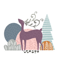 Creative forest print with abstract deer and vector