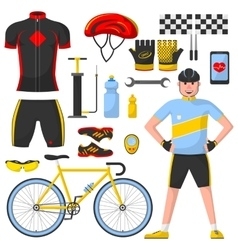 Cyclist with differennt cycle elements vector