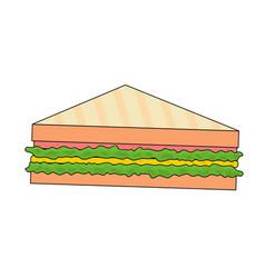 Delicious fast food ham sandwich vector