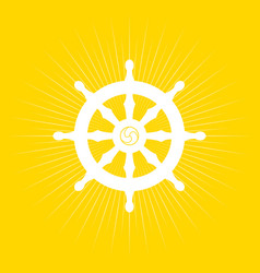 dharma wheel on light burst vector image