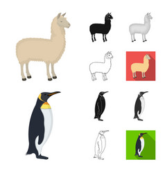 Different animals cartoonblackflatmonochrome vector