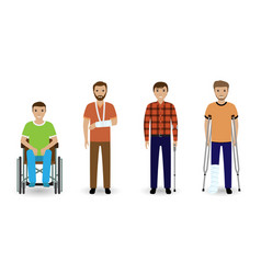 Disability people group four invalid men vector