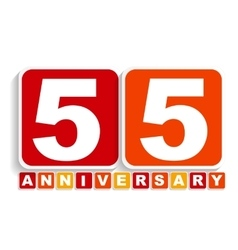 Fifty Five 55 Years Anniversary Label Sign for vector