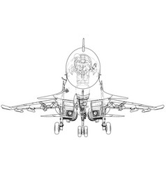 fighter jet wireframe concept created vector image