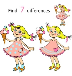 Find differences girl vector image