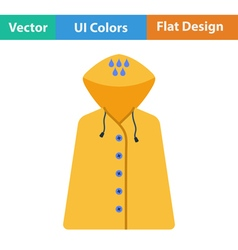 Flat design icon of raincoat vector image