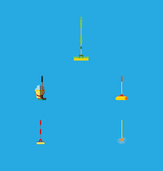 flat icon broomstick set of broomstick sweep vector image