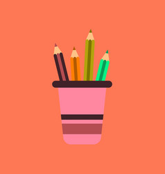 flat icon on background pencils in stand vector image