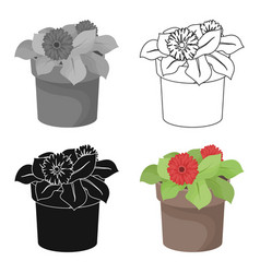 flower in the pot icon in outline style isolated vector image