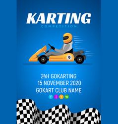 Go kart race background poster karting race car vector