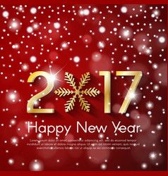 golden new year 2017 concept on red snow blurry vector image