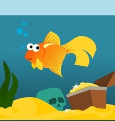 Goldfish in aquarium with treasures vector image
