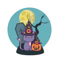 halloween cute cat cartoons vector image