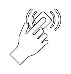 Hand touch button wifi graphic line vector