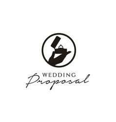 hands diamond ring wedding marry proposal logo vector image