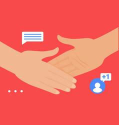 Handshake gesture social media network friend vector