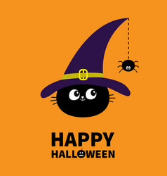 Happy halloween black cat face head silhouette vector