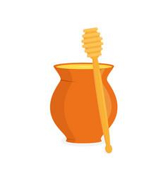 honey pot and honey dipper vector image