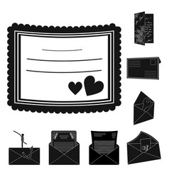 isolated object of card and christmas sign set of vector image