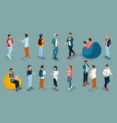 isometric young creative people students vector image