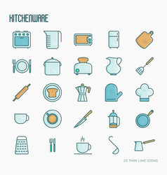kitchenware and tableware thin line icons set vector image
