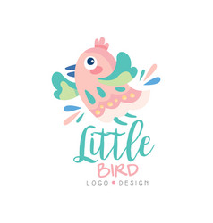 Little bird logo design emblem with cute little vector