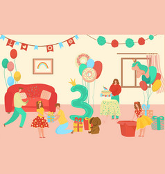little three year girl birthday kids with baloon vector image