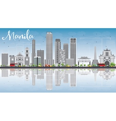 Manila Skyline with Gray Buildings Blue Sky vector
