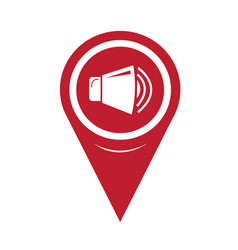 map pin pointer speaker icon vector image