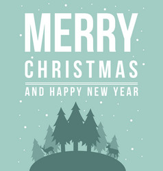 Merry christmas silhouette style background vector
