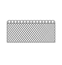 Metal fence with barbed wire vector