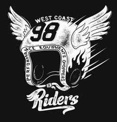 motorcycle rider helmet t shirt print design vector image