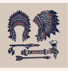 Native american elements hand drawn line style wi vector