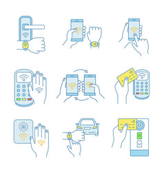 Nfc technology color icons set vector
