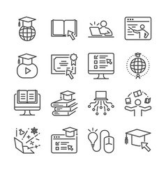 Online education line icon set vector