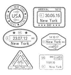 Passport stamps arrival to new york usa black vector