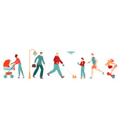 people in city pedestrians flat set woman woth vector image