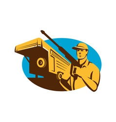 Pressure Washer Cleaner Worker Trailer Retro vector