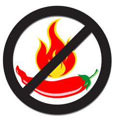 Prohibition sign with spicy pepper vector