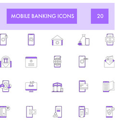 Purple and white color set mobile banking icon vector