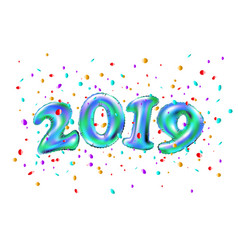 realistic 2019 blue ballon numbers and festive vector image