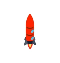 Red rocket with two portholes icon vector image