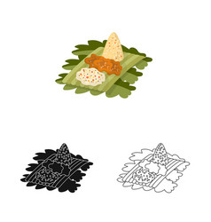 Rice and dish sign set of vector